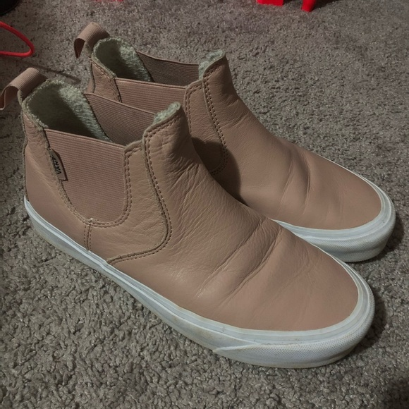 Vans Shoes | Blush Leather High Top